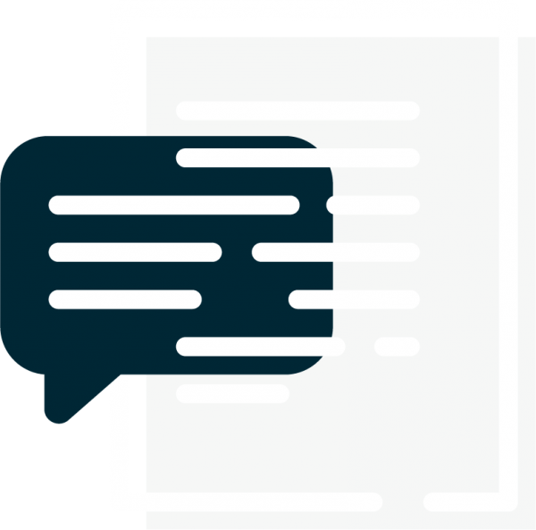 Icon with lines representing text imposed over a speech bubble and document